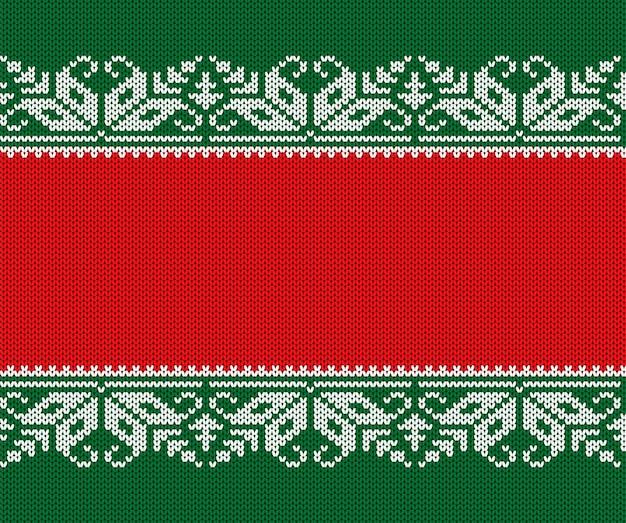 Gestrickter weihnachtsroter und grüner hintergrund. nahtlose geometrische strickverzierung.