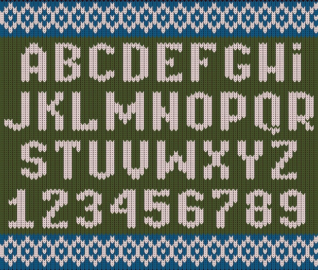 Gestricktes alphabet. strukturierte weihnachtsschriftart zum festkleidungspullover oder zum pulloveralphabetsatz.