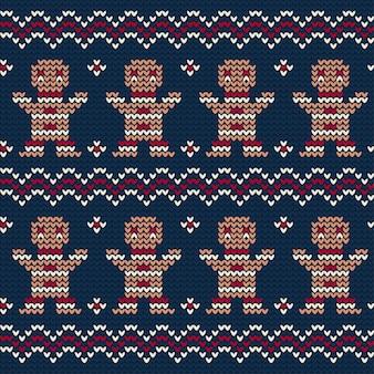 Gestricktes muster des lebkuchenplätzchens von weihnachten