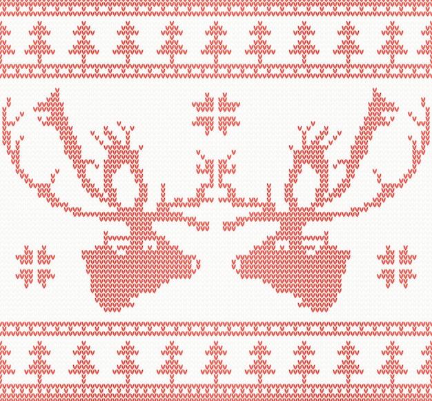 Gestricktes rotwild-nahtloses muster in der roten farbe. vektor-illustration. weihnachtskonzept für banner, plakat, plakat oder website. neujahrskarte und hintergrund.