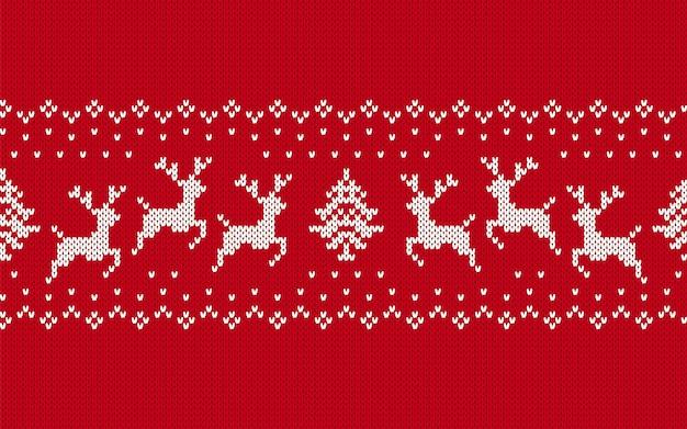 Gestricktes weihnachtsmuster. roter nahtloser druck. vektorillustration.