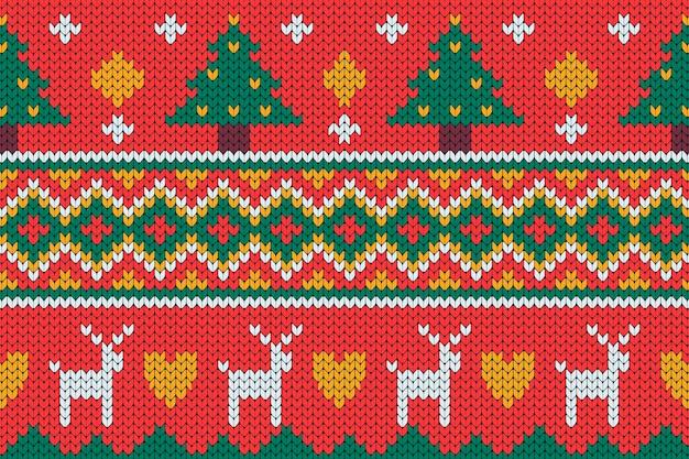 Gestricktes weihnachtsmusterkonzept