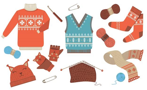 Gestricktes winter- und herbstkleidungs-ikonen-kit