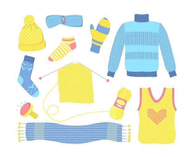 Gestricktes wollkleidungsset der saison