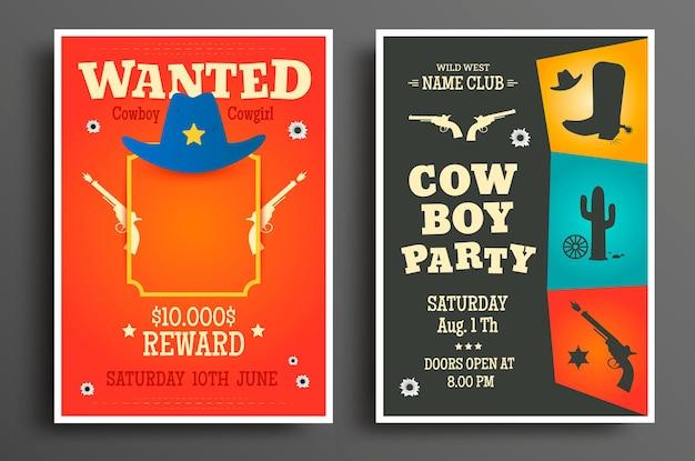 Gesucht western-poster und cowboy-party-flyer oder einladungsvorlage. vektor-illustration