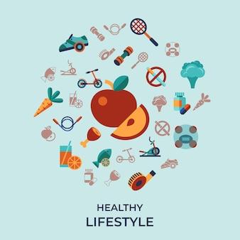 Gesunde aktivitätslebensstilikonen eingestellt
