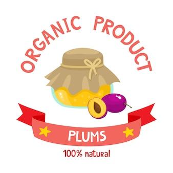 Gesunde bio-marmelade aus frischen pflaumen auf weißem hintergrund. vektorgrafik von cartoon-abzeichen mit marmelade oder marmelade für zeitschriften, poster, menüs, webseiten.