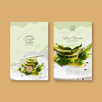 Gesunde doppelseitige visitenkarte des restaurants