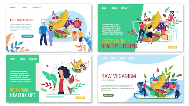 Gesunde ernährung, die modische landing page annonciert