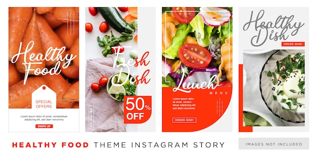 Gesunde ernährung red theme instagram story template
