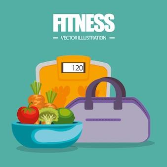 Gesunde ernährung und fitnessgeräte