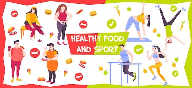 Gesunde ernährung und sportillustration