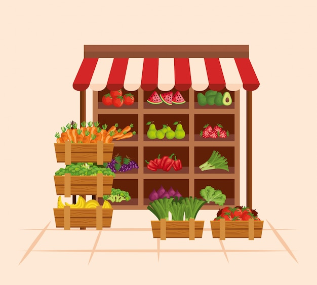 Gesunde ernährung von frischem obst und gemüse
