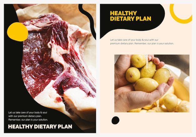 Gesunde ernährung vorlage marketing lebensmittel poster set