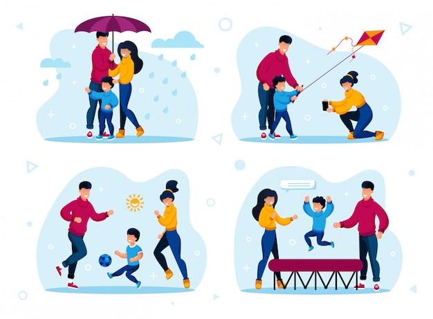 Gesunde familienaktivitäten, aktive freizeit
