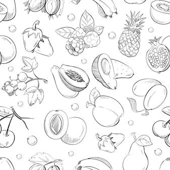 Gesunde frucht hand gezeichnete nahtlose textur.