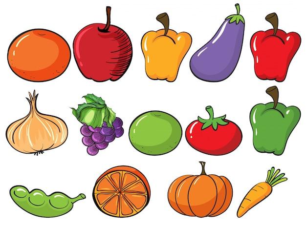 Gesunde früchte und gemüse
