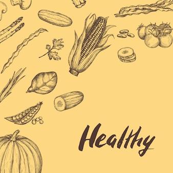 Gesunde gezeichneter hintergrund des lebensmittels des strengen vegetariers hand