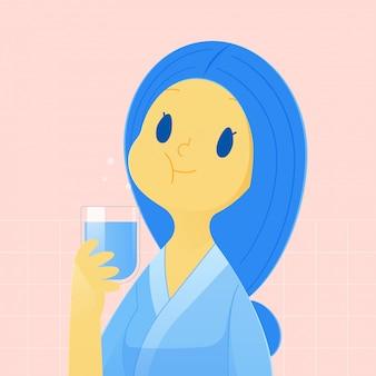 Gesunde glückliche frau, die spült und gurgelt, während mundwasser von einem glas verwendet wird. während der täglichen mundhygiene. zahngesundheitskonzept und illustration