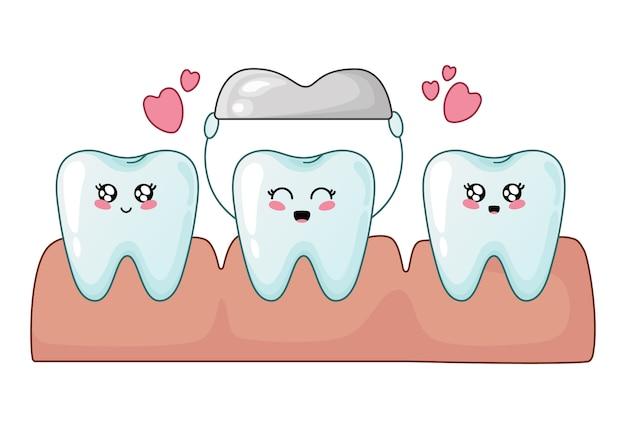 Gesunde kawaii zähne und zahn mit metallkrone