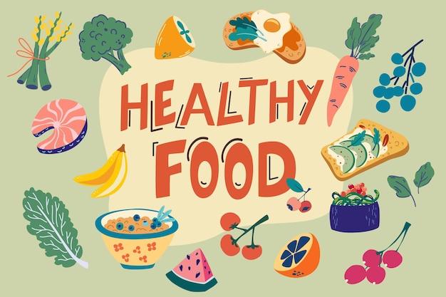 Gesunde lebensmittel eingestellt. hand zeichnen alltägliche lebensmittel. gemüse und früchte. welternährungstag. sammlung organischer vitamine und gesunder ernährung. bunte vektorartikel zum essen.