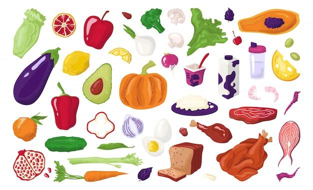 Gesunde lebensmittel, ernährung setzen frische bio-früchte, fleisch, fisch, milchige produkte und gemüse für diätmahlzeit illustrationen. gesunde speisekarte mit vitaminen, natürlicher ernährung, agrarmarkt.