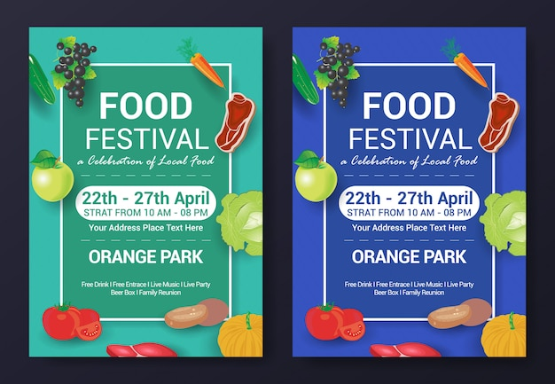Gesunde lebensmittel festival flyer vorlage