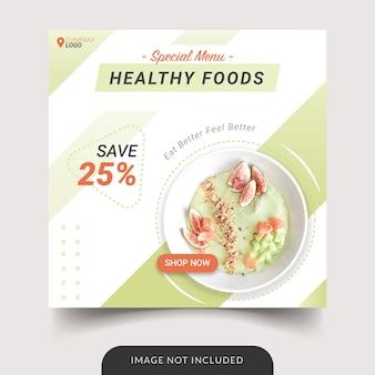 Gesunde lebensmittel instagram post vorlage