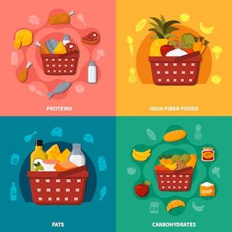 Gesunde lebensmittel supermarkt korb zusammensetzung
