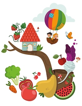 Gesunde lebensmittel und kinder-vektor-illustrationclipart