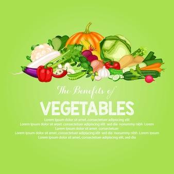 Gesunde lebensmittelfahne stellte mit flaches design des gemüses ein