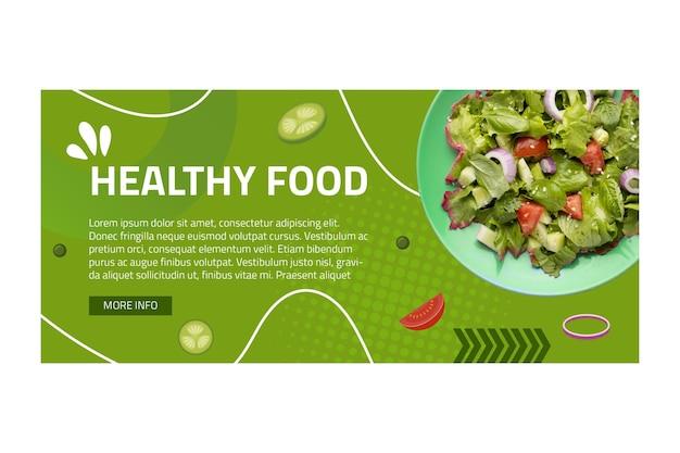 Gesunde lebensmittelfahnenschablone mit foto