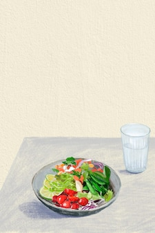 Gesunde lebensmittelfarbstiftillustration des salathintergrundes
