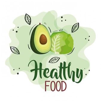 Gesunde lebensmittelillustration mit salat und avocado