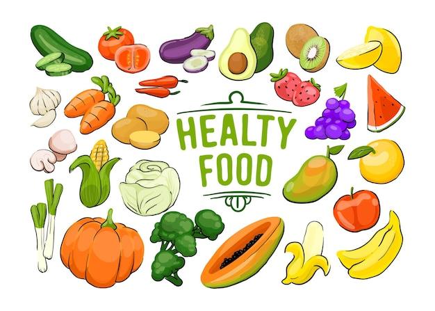 Gesunde lebensmittelkollektion mit gemüse und obst