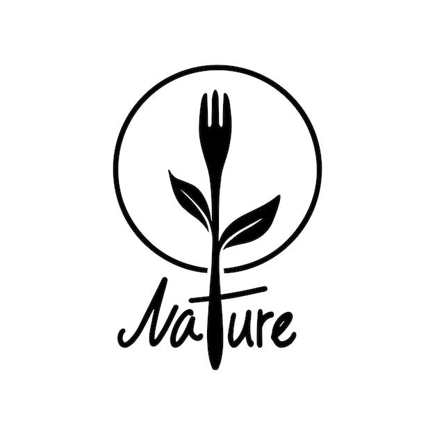 Gesunde lebensmittellogogabel und pflanzensilhouette. natürliches lebensmittelsymbol-vektordesign