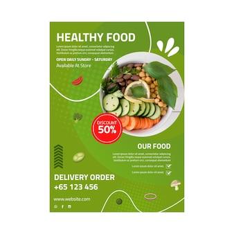 Gesunde lebensmittelplakatschablone mit foto