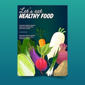 Gesunde lebensmittelplakatschablone