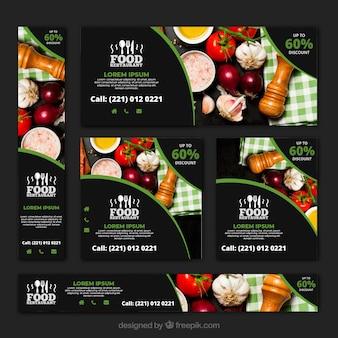 Gesunde lebensmittelrestaurant-fahnensammlung mit fotos
