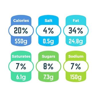 Gesunde lebensmittelverpackungsnahrungsaufkleber mit kalorien und gramminformationsvektorsatz