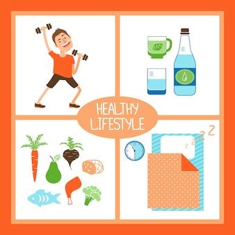 Gesunde lebensstil-vektorillustration mit einem mann, der gewichte für fitness reines wasser oder organische getränke hebt gesunde ernährung und nahrung und ausreichenden schlaf anhebt