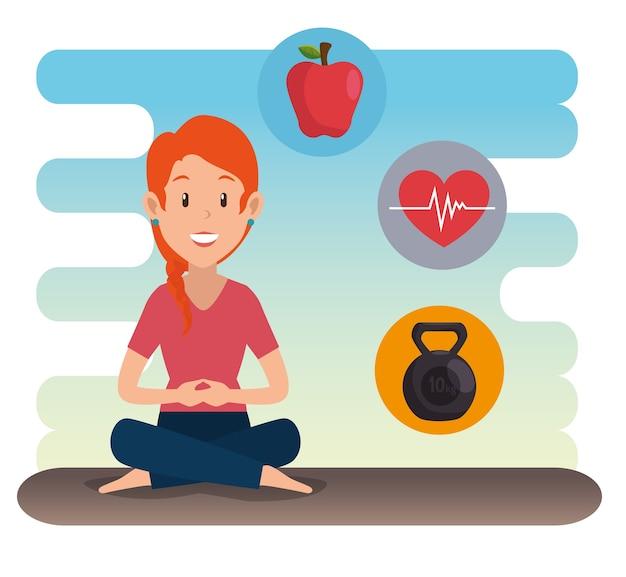 Gesunde lebensstilleute, die yoga tun