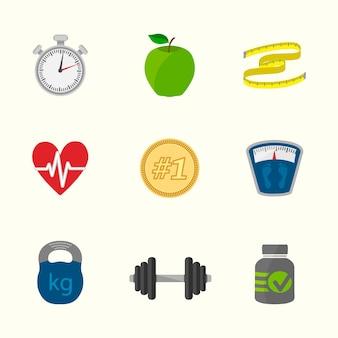Gesunde lebensweise ikonen-sammlung