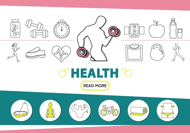 Gesunde lifestyle-linie ikonen gesetzt mit starken mann vitaminen sportausrüstung skala mobile früchte yoga