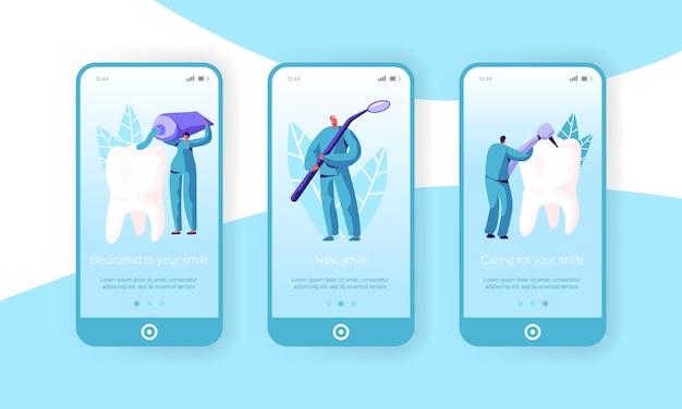 Gesunde medizin hygiene zähne mobile app seite onboard screen set. zahnarzt, arzt karies medizinische zahnbürste und zahnpasta für dental website oder webseite. flache karikatur-vektor-illustration