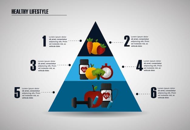 Gesunde nahrungsmittel, die infographic pyramidenahrungsporteignähren