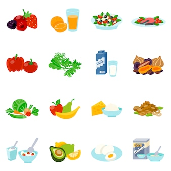 Gesunde nahrungsmittelflache ikonen eingestellt