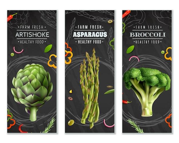 Gesunde nahrungsmittelvertikale fahnen mit gemüse