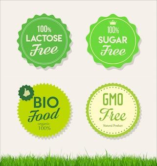 Gesunde naturkost kennzeichnet bio-tags