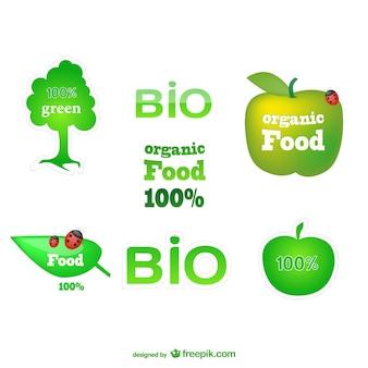 Gesunde öko-grünen etiketten